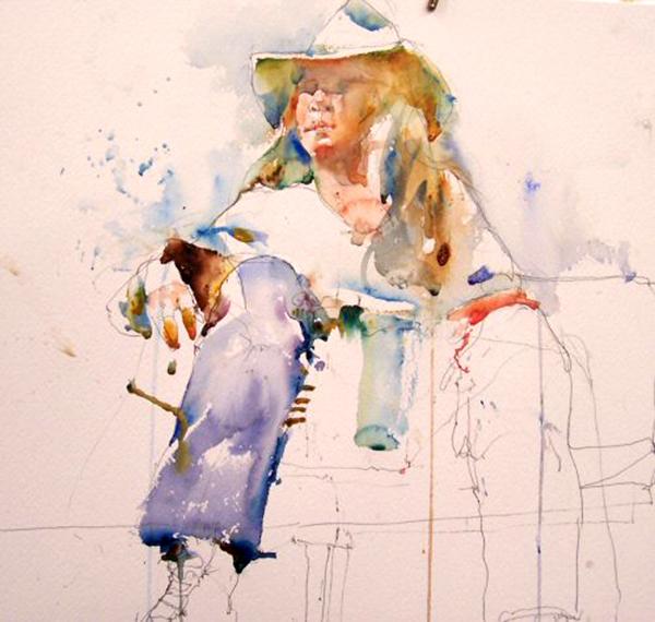 Charles Reid painting water colour